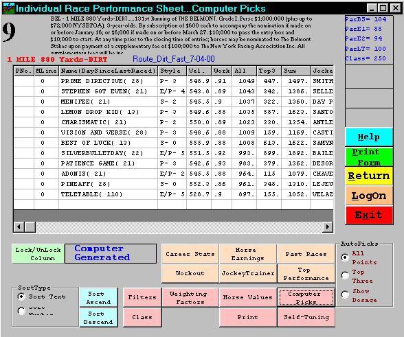 Horse Racing Handicapping Software Program